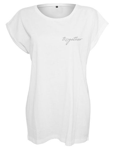 Shirt women, Herz-together, white/silver